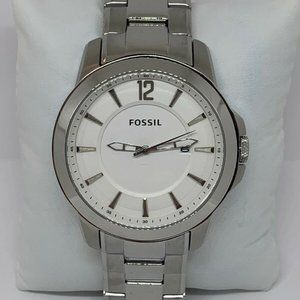 Fossil Men's Stainless Steel White Dial Watch E409